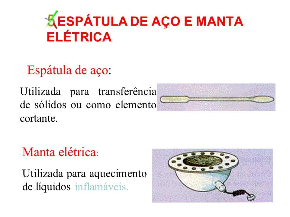 5.ESPÁTULA DE AÇO E MANTA ELÉTRICA Espátula de aço: Utilizada para transferência de sólidos ou como elemento cortante.