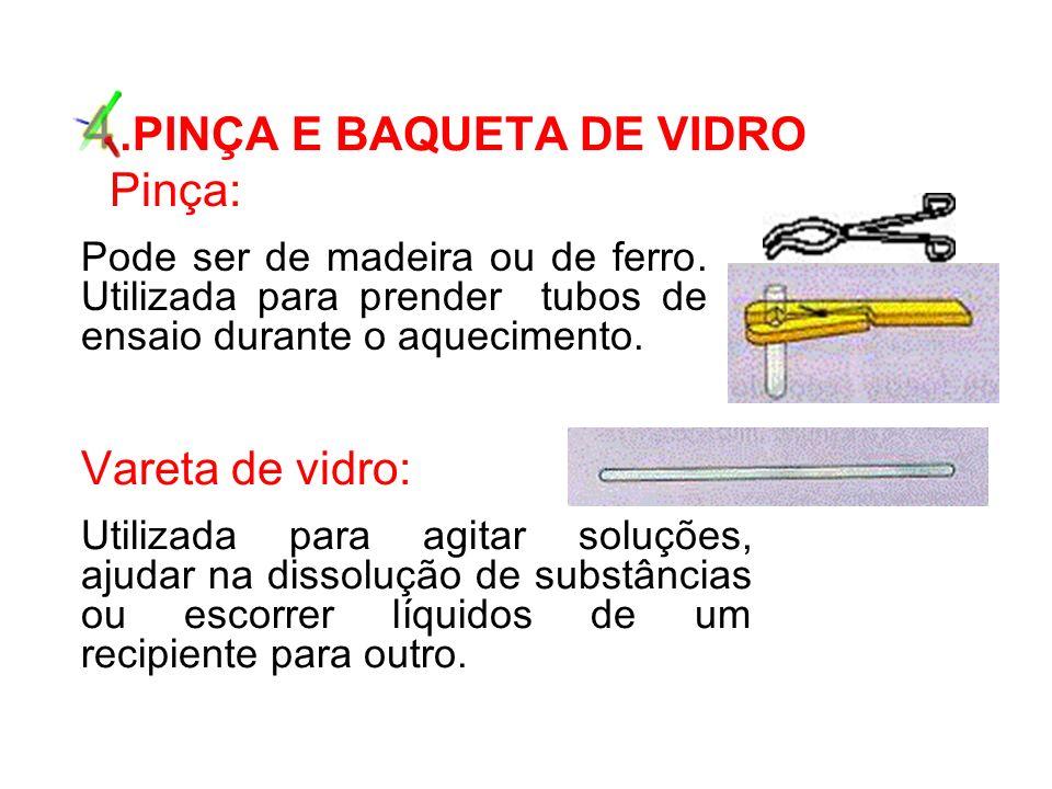 4.PINÇA E BAQUETA DE VIDRO Pinça: Pode ser de madeira ou de ferro.