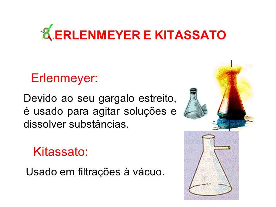 8.ERLENMEYER E KITASSATO Erlenmeyer: Devido ao seu gargalo estreito, é usado para agitar soluções e dissolver substâncias.