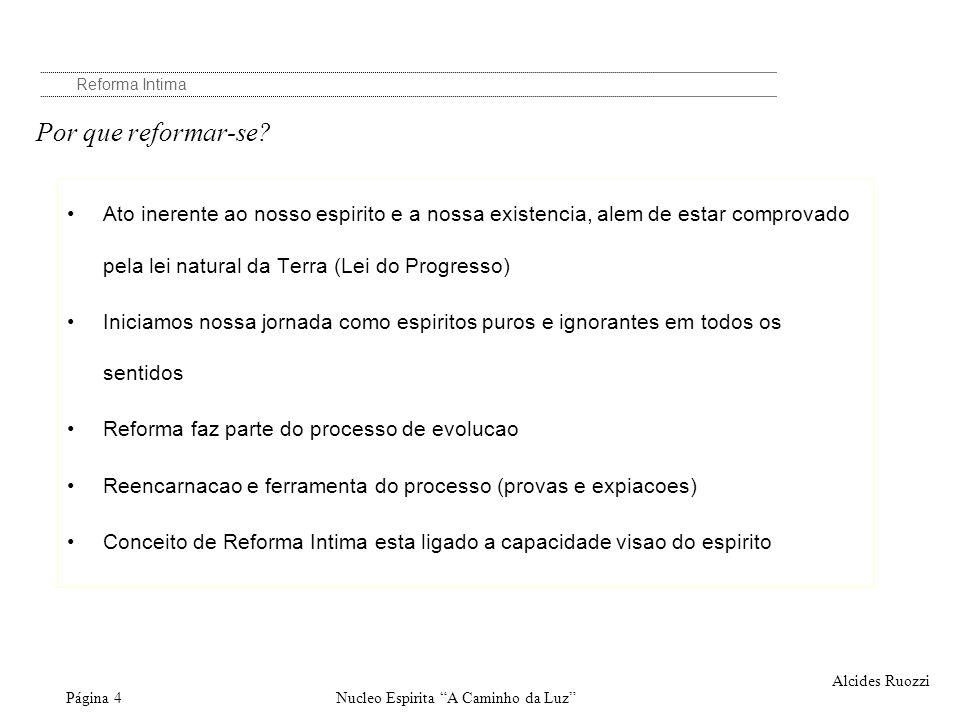 Nucleo Espirita A Caminho da LuzPágina 4 Reforma Intima Alcides Ruozzi Por que reformar-se? Ato inerente ao nosso espirito e a nossa existencia, alem