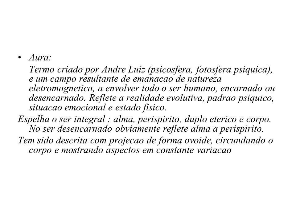 Aura: Termo criado por Andre Luiz (psicosfera, fotosfera psiquica), e um campo resultante de emanacao de natureza eletromagnetica, a envolver todo o s