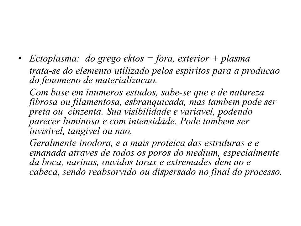Ectoplasma: do grego ektos = fora, exterior + plasma trata-se do elemento utilizado pelos espiritos para a producao do fenomeno de materializacao. Com