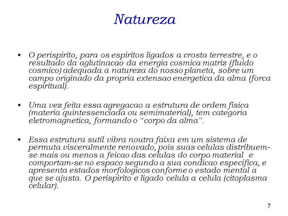 7 O perispirito, para os espiritos ligados a crosta terrestre, e o resultado da aglutinacao da energia cosmica matriz (fluido cosmico) adequada a natu