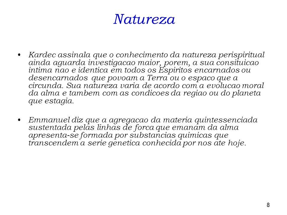 8 Kardec assinala que o conhecimento da natureza perispiritual ainda aguarda investigacao maior, porem, a sua consituicao intima nao e identica em tod