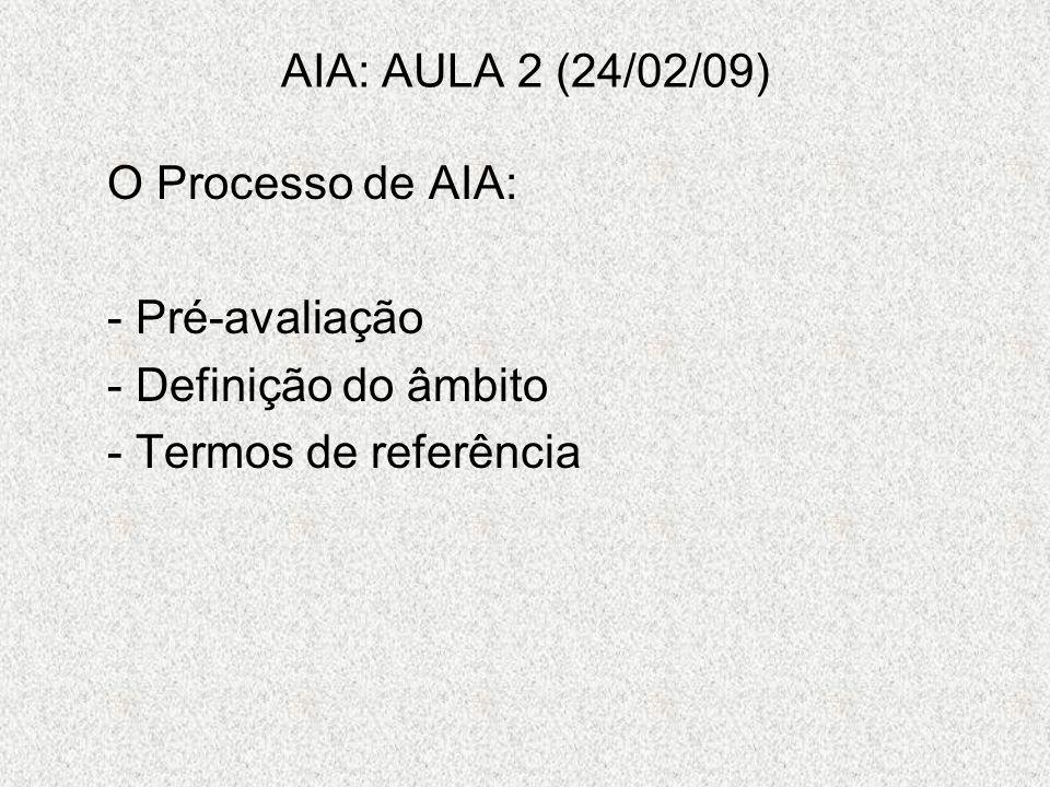 AIA: AULA 2 (24/02/09) O Processo de AIA: - Pré-avaliação - Definição do âmbito - Termos de referência