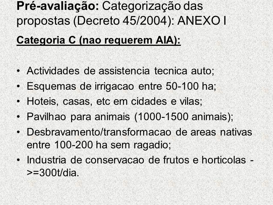 Pré-avaliação: Categorização das propostas (Decreto 45/2004): ANEXO I Categoria C (nao requerem AIA): Actividades de assistencia tecnica auto; Esquema