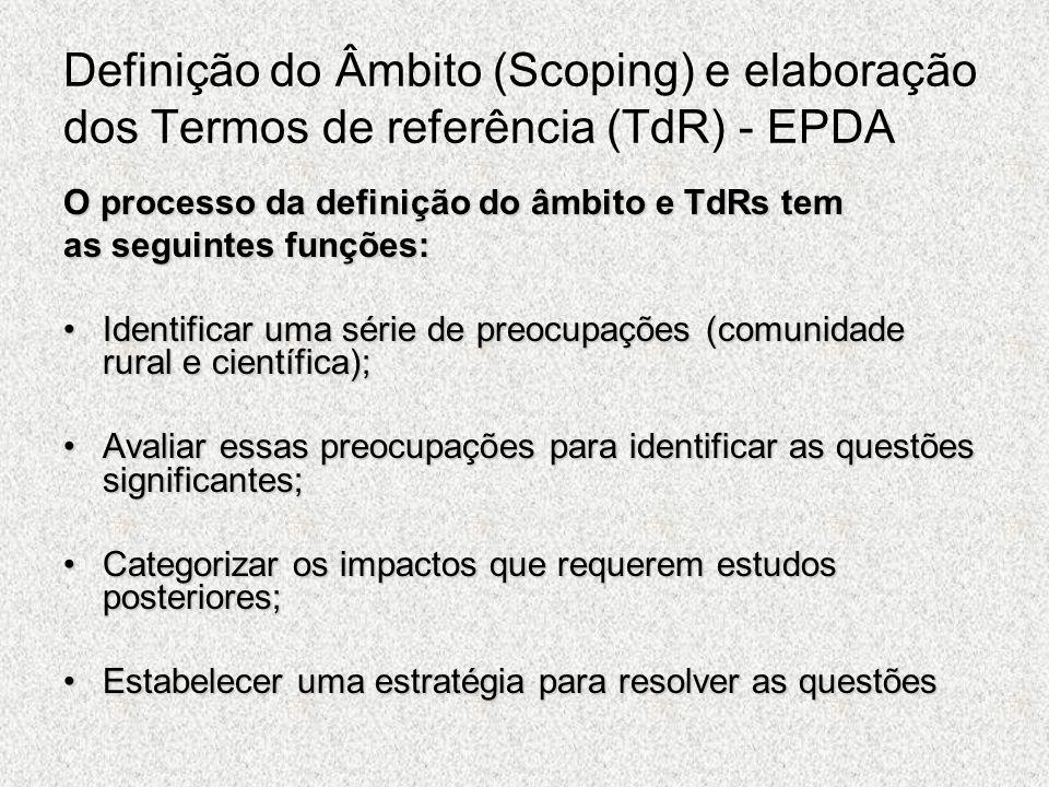 Definição do Âmbito (Scoping) e elaboração dos Termos de referência (TdR) - EPDA O processo da definição do âmbito e TdRs tem as seguintes funções: Id