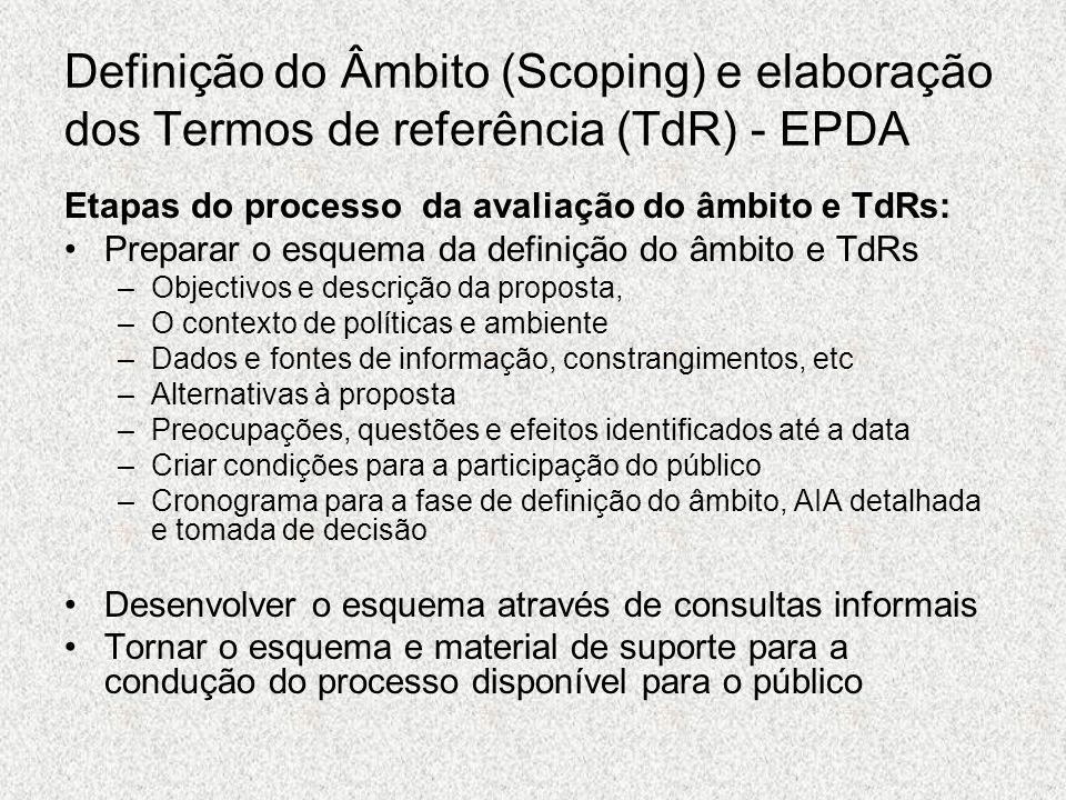 Definição do Âmbito (Scoping) e elaboração dos Termos de referência (TdR) - EPDA Etapas do processo da avaliação do âmbito e TdRs: Preparar o esquema