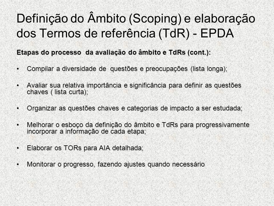 Definição do Âmbito (Scoping) e elaboração dos Termos de referência (TdR) - EPDA Etapas do processo da avaliação do âmbito e TdRs (cont.): Compilar a