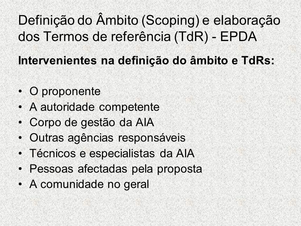 Definição do Âmbito (Scoping) e elaboração dos Termos de referência (TdR) - EPDA Intervenientes na definição do âmbito e TdRs: O proponente A autorida