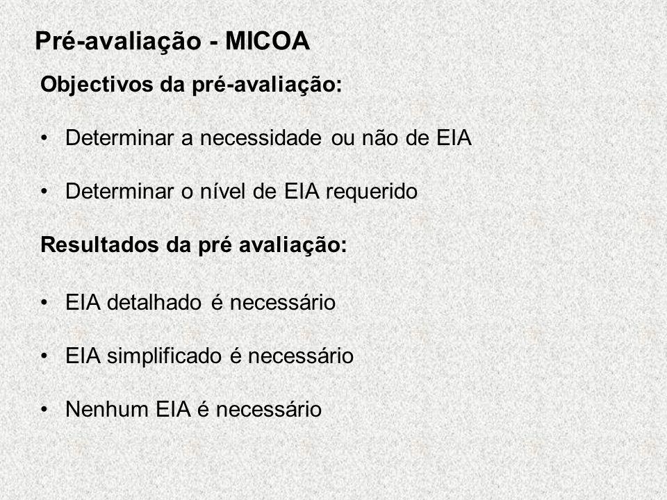 Pré-avaliação Métodos da pré-avaliação Abordagem Prescritiva –Legislação ou políticas que definam para que tipo de propostas o EIA é aplicável –Lista de inclusão de projectos para os quais o EIA é automaticamente requerido –Lista de exclusão de actividades que não requerem o EIA Abordagem com base na experiência –Critério de avaliação das propostas caso a caso para identificar aquelas que requeiram o EIA