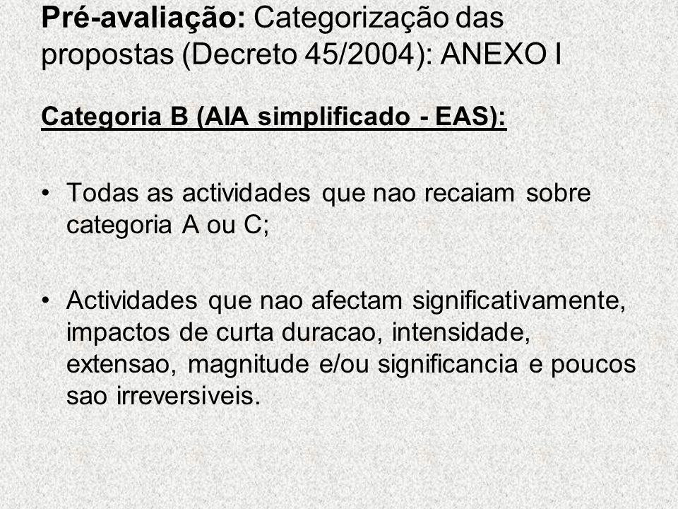 Pré-avaliação: Categorização das propostas (Decreto 45/2004): ANEXO I Categoria B (AIA simplificado - EAS): Todas as actividades que nao recaiam sobre