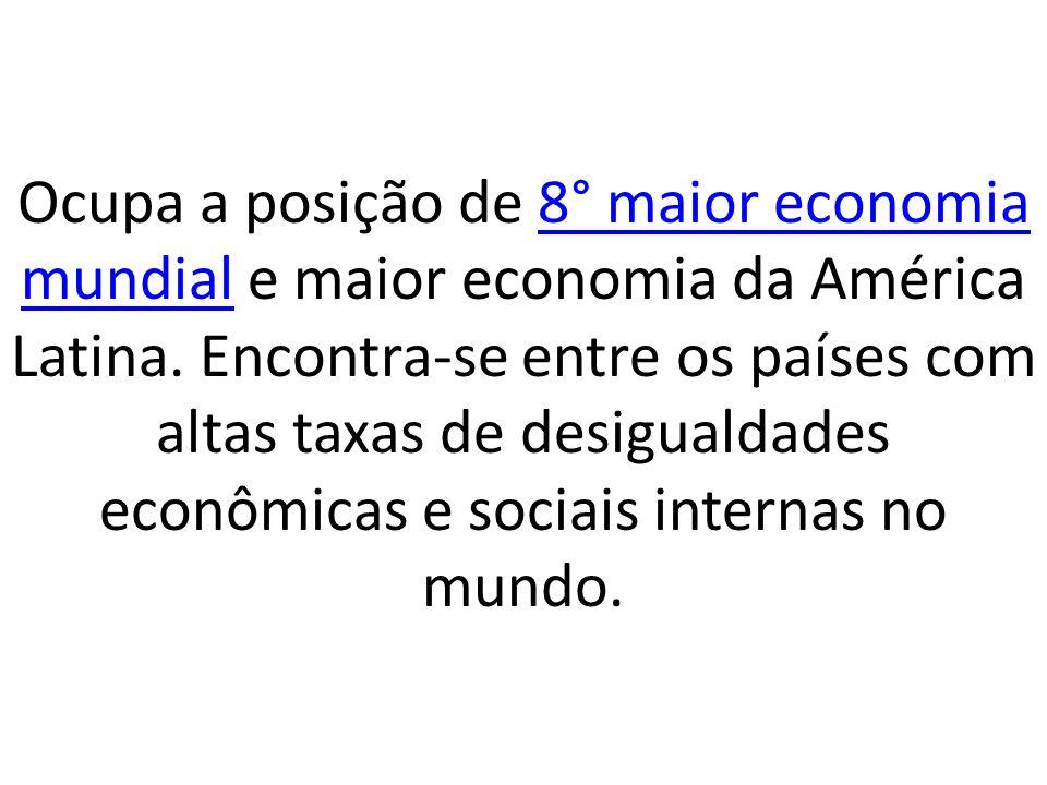 Ocupa a posição de 8° maior economia mundial e maior economia da América Latina. Encontra-se entre os países com altas taxas de desigualdades econômic