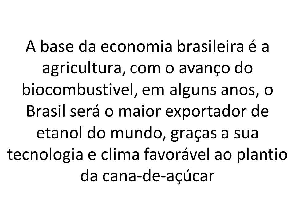 A base da economia brasileira é a agricultura, com o avanço do biocombustivel, em alguns anos, o Brasil será o maior exportador de etanol do mundo, gr