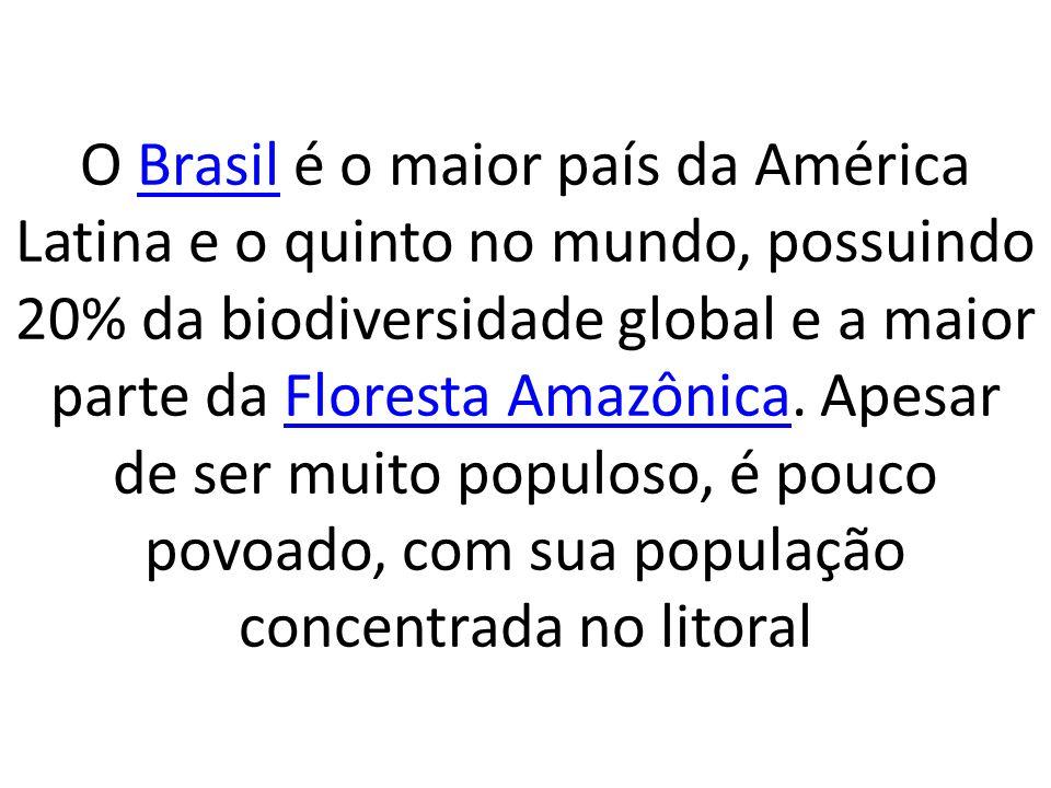 O Brasil é o maior país da América Latina e o quinto no mundo, possuindo 20% da biodiversidade global e a maior parte da Floresta Amazônica. Apesar de
