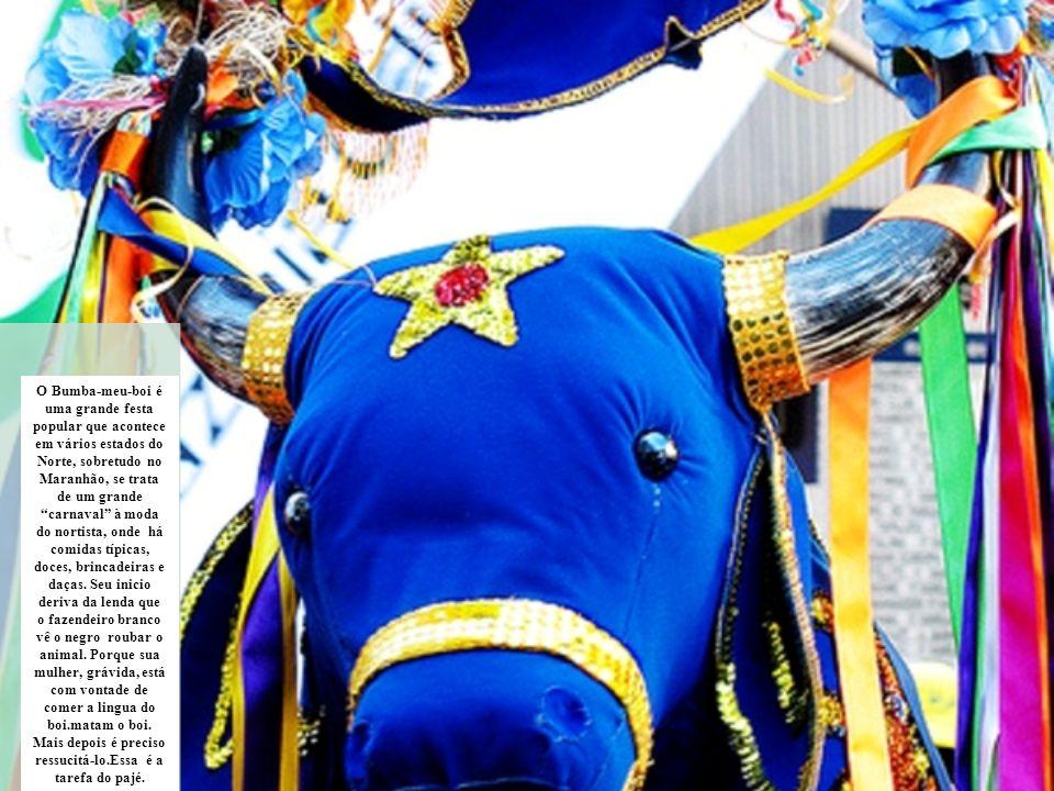 O Bumba-meu-boi é uma grande festa popular que acontece em vários estados do Norte, sobretudo no Maranhão, se trata de um grande carnaval à moda do no
