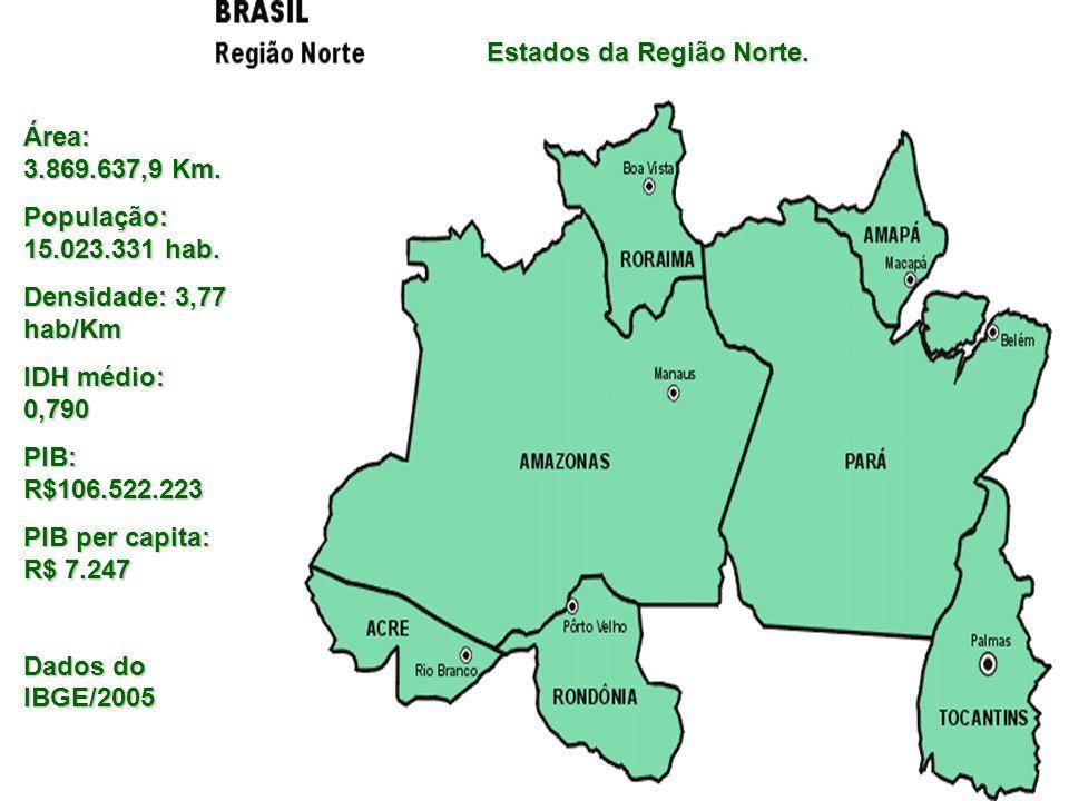 Estados da Região Norte. Área: 3.869.637,9 Km. População: 15.023.331 hab. Densidade: 3,77 hab/Km IDH médio: 0,790 PIB: R$106.522.223 PIB per capita: R