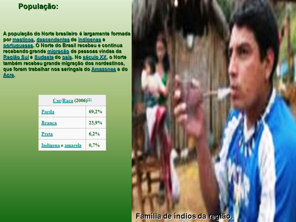 População: IndígenaIndígena e amarelaamarela0,7% A população do Norte brasileiro é largamente formada por mestiços, descendentes de indígenas e portug