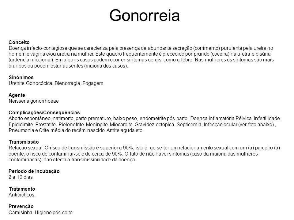 Gonorreia Conceito Doença infecto-contagiosa que se caracteriza pela presença de abundante secreção (corrimento) purulenta pela uretra no homem e vagi