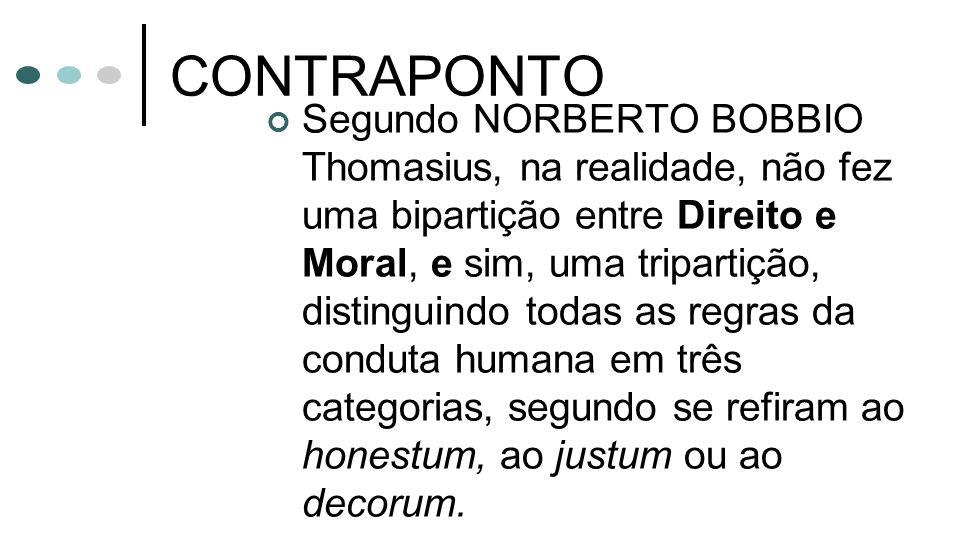CONTRAPONTO Segundo NORBERTO BOBBIO Thomasius, na realidade, não fez uma bipartição entre Direito e Moral, e sim, uma tripartição, distinguindo todas