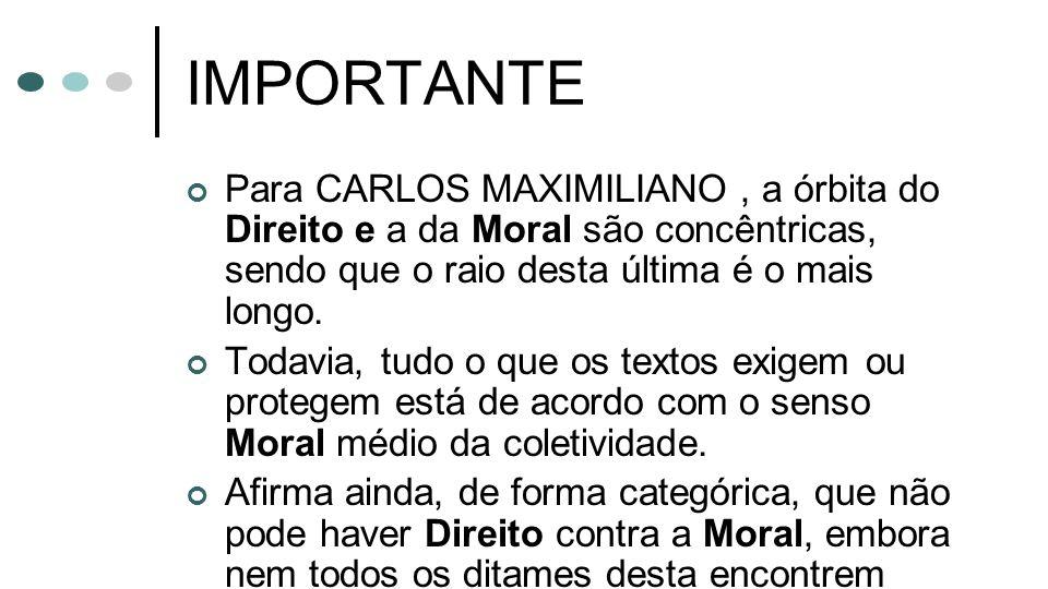 IMPORTANTE Para CARLOS MAXIMILIANO, a órbita do Direito e a da Moral são concêntricas, sendo que o raio desta última é o mais longo. Todavia, tudo o q