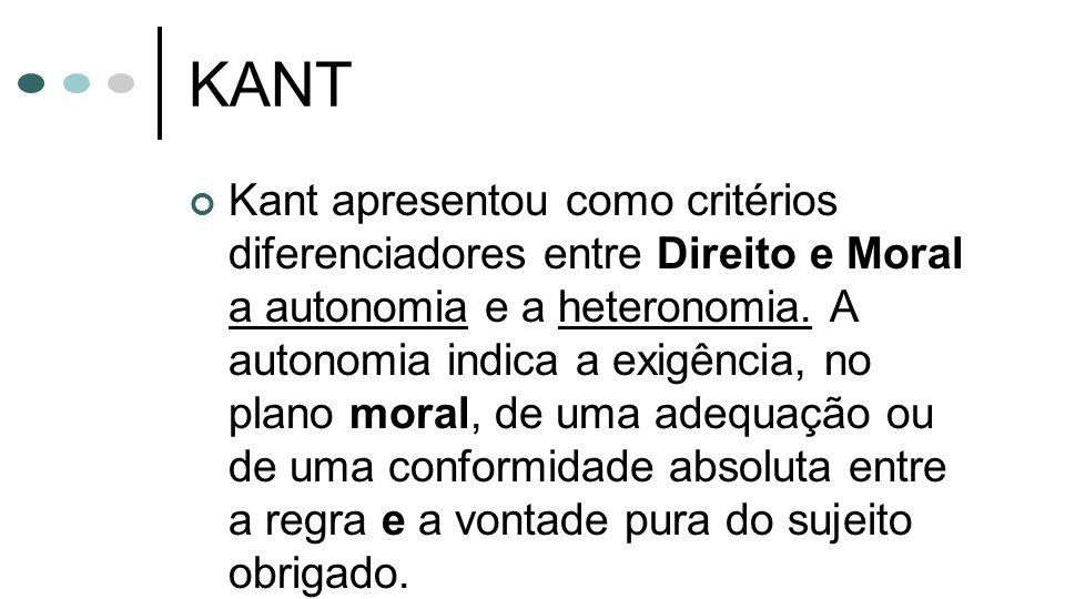 KANT Kant apresentou como critérios diferenciadores entre Direito e Moral a autonomia e a heteronomia. A autonomia indica a exigência, no plano moral,