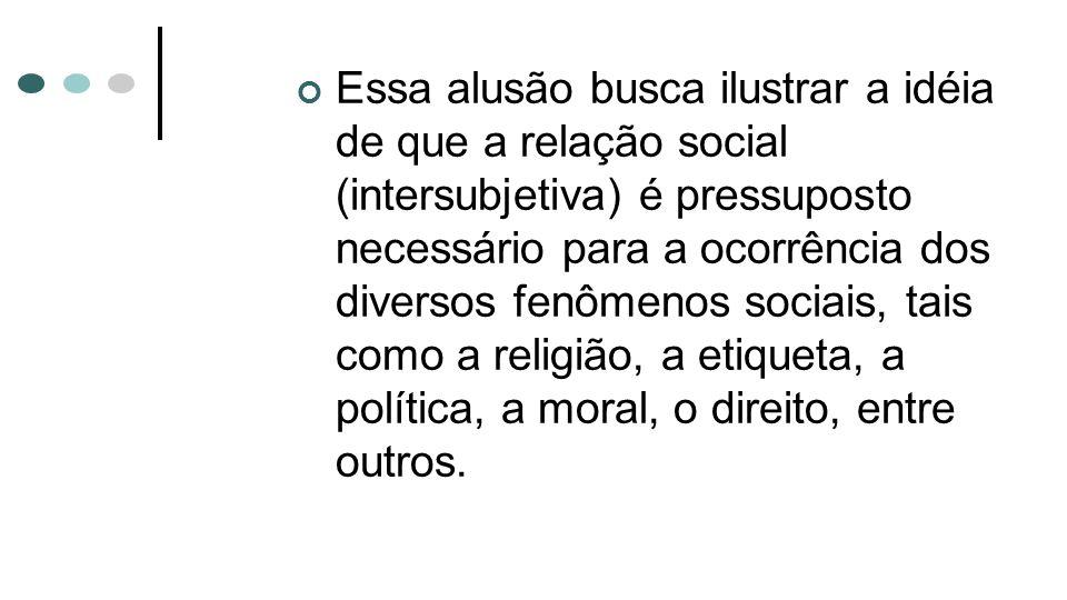 Essa alusão busca ilustrar a idéia de que a relação social (intersubjetiva) é pressuposto necessário para a ocorrência dos diversos fenômenos sociais,