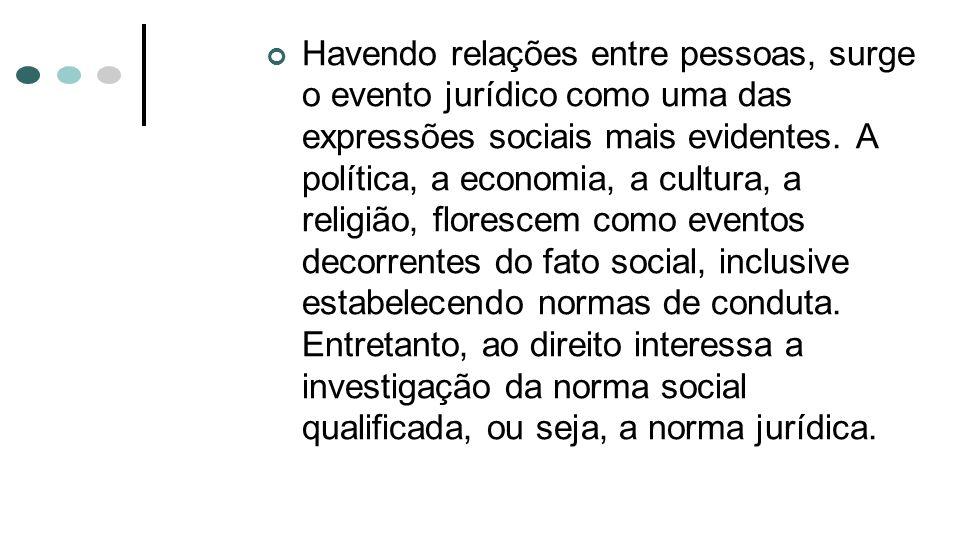 Havendo relações entre pessoas, surge o evento jurídico como uma das expressões sociais mais evidentes. A política, a economia, a cultura, a religião,