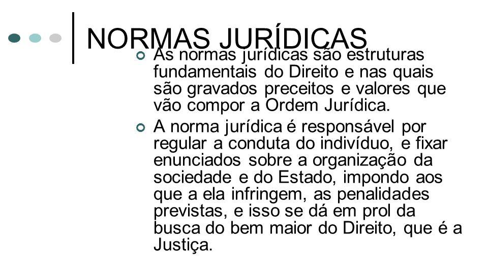 NORMAS JURÍDICAS As normas jurídicas são estruturas fundamentais do Direito e nas quais são gravados preceitos e valores que vão compor a Ordem Jurídi
