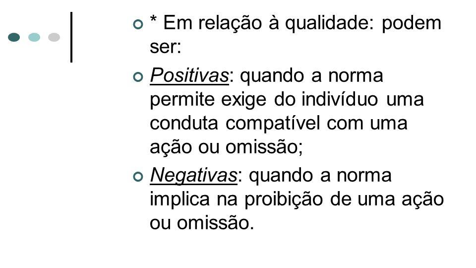 * Em relação à qualidade: podem ser: Positivas: quando a norma permite exige do indivíduo uma conduta compatível com uma ação ou omissão; Negativas: q