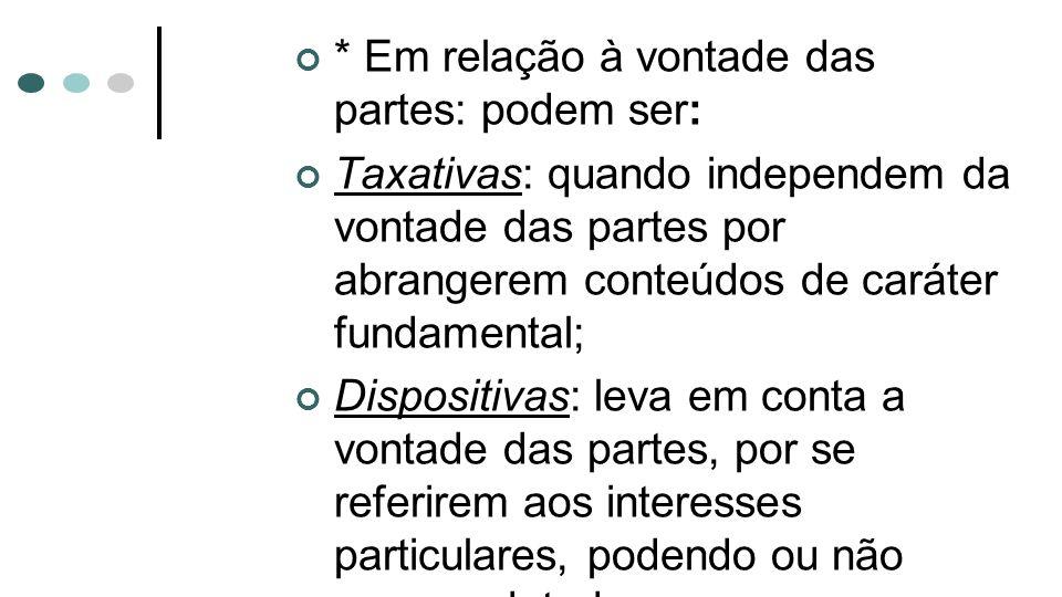 * Em relação à vontade das partes: podem ser: Taxativas: quando independem da vontade das partes por abrangerem conteúdos de caráter fundamental; Disp
