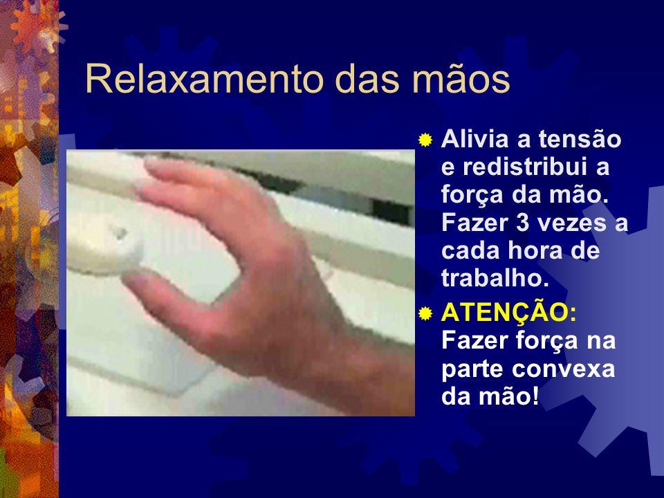 Relaxamento das mãos Aumenta a resistência da musculatura e ligamentos da mão.