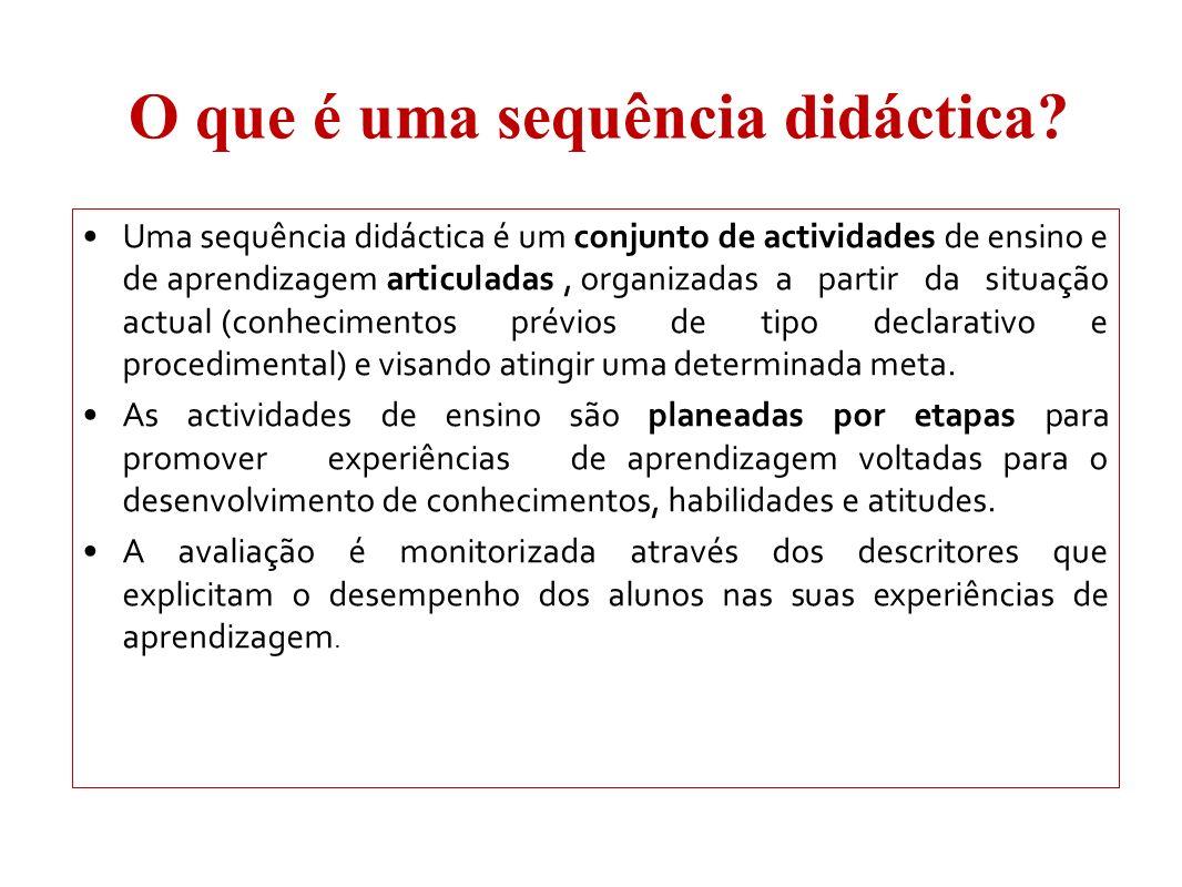 O que é uma sequência didáctica? Uma sequência didáctica é um conjunto de actividades de ensino e de aprendizagem articuladas, organizadas a partir da