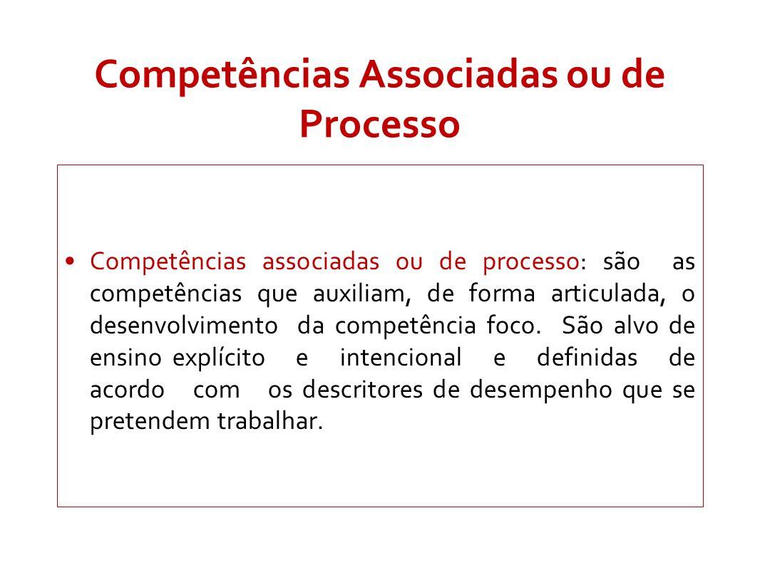 Competências Associadas ou de Processo Competências associadas ou de processo: são as competências que auxiliam, de forma articulada, o desenvolviment