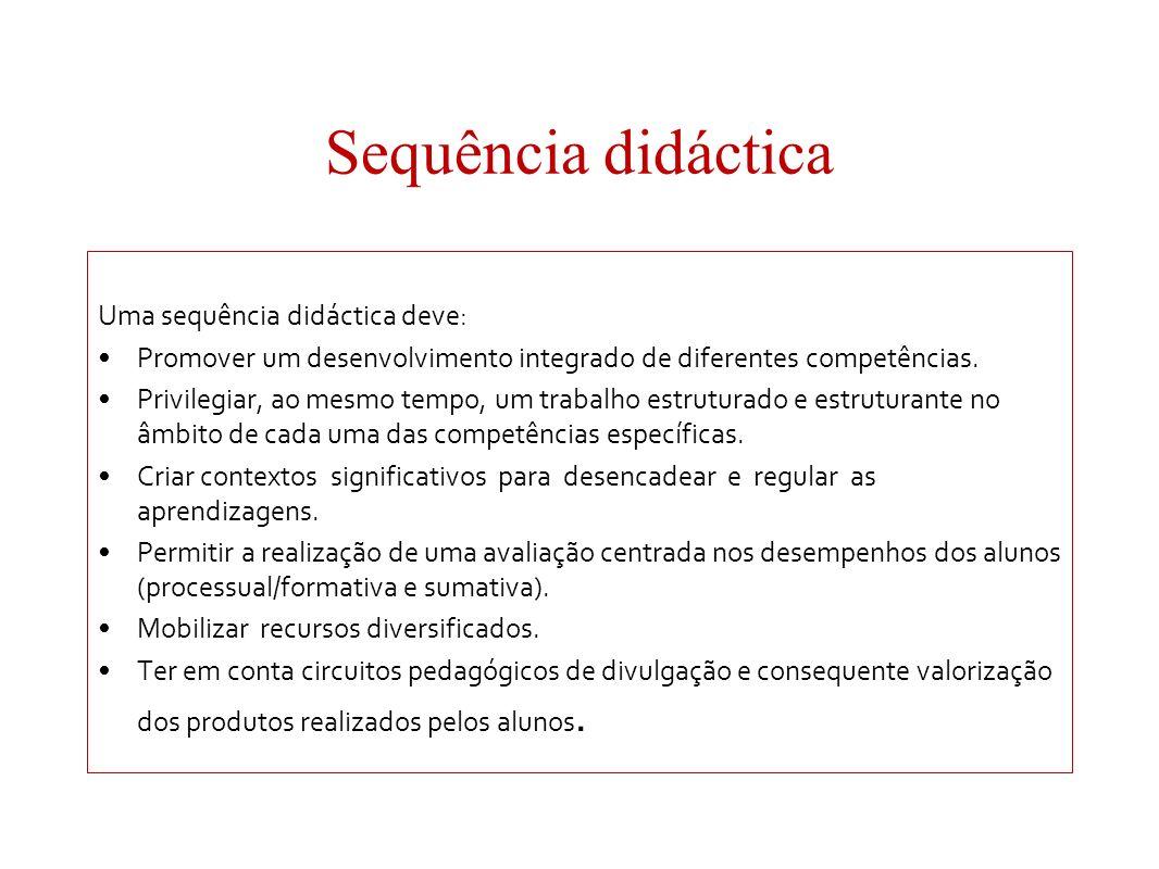 Sequência didáctica Uma sequência didáctica deve: Promover um desenvolvimento integrado de diferentes competências. Privilegiar, ao mesmo tempo, um tr