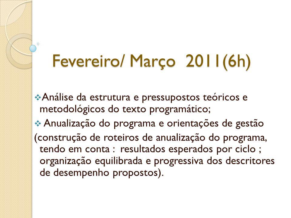 Fevereiro/ Março 2011(6h) Análise da estrutura e pressupostos teóricos e metodológicos do texto programático; Anualização do programa e orientações de