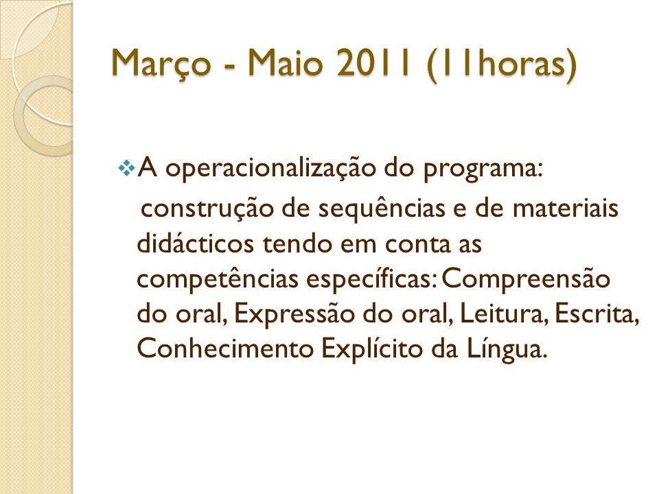 Março - Maio 2011 (11horas) A operacionalização do programa: construção de sequências e de materiais didácticos tendo em conta as competências específ