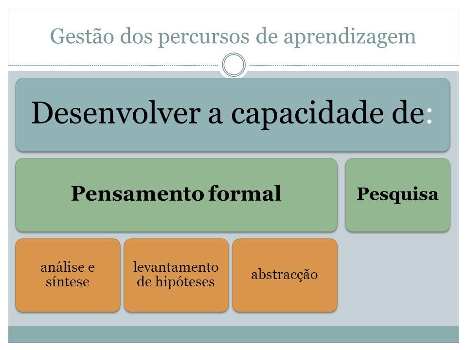Gestão dos percursos de aprendizagem Assegura-se o alargamento e complexificação Pontos de vista pessoais Organização e comunicação dos saberes e representações Formas de raciocínio