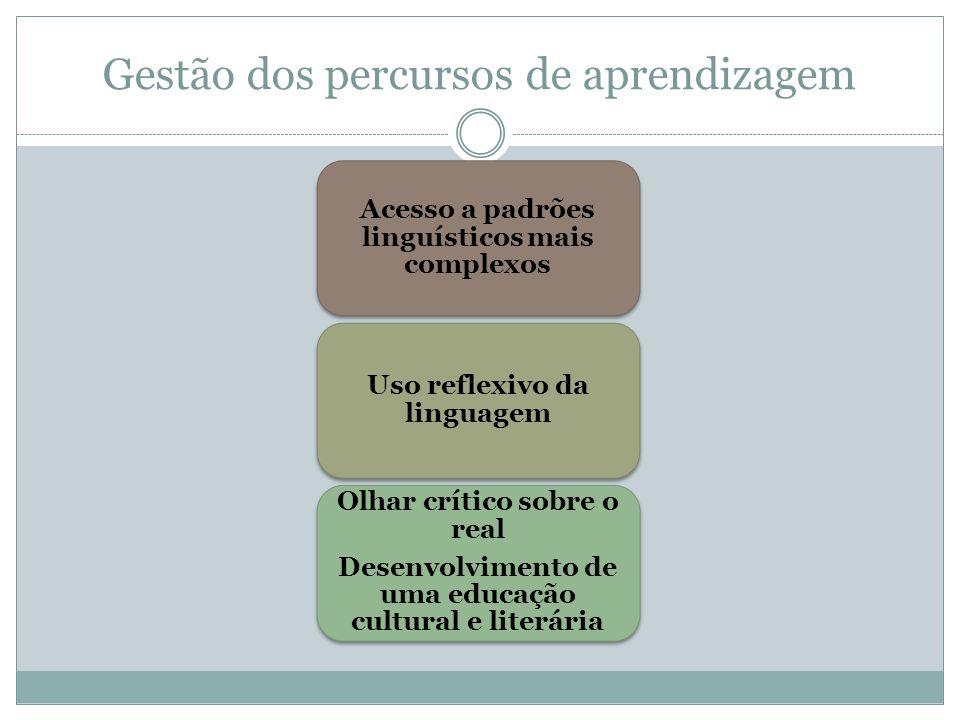 Gestão dos percursos de aprendizagem Acesso a padrões linguísticos mais complexos Uso reflexivo da linguagem Olhar crítico sobre o real Desenvolviment