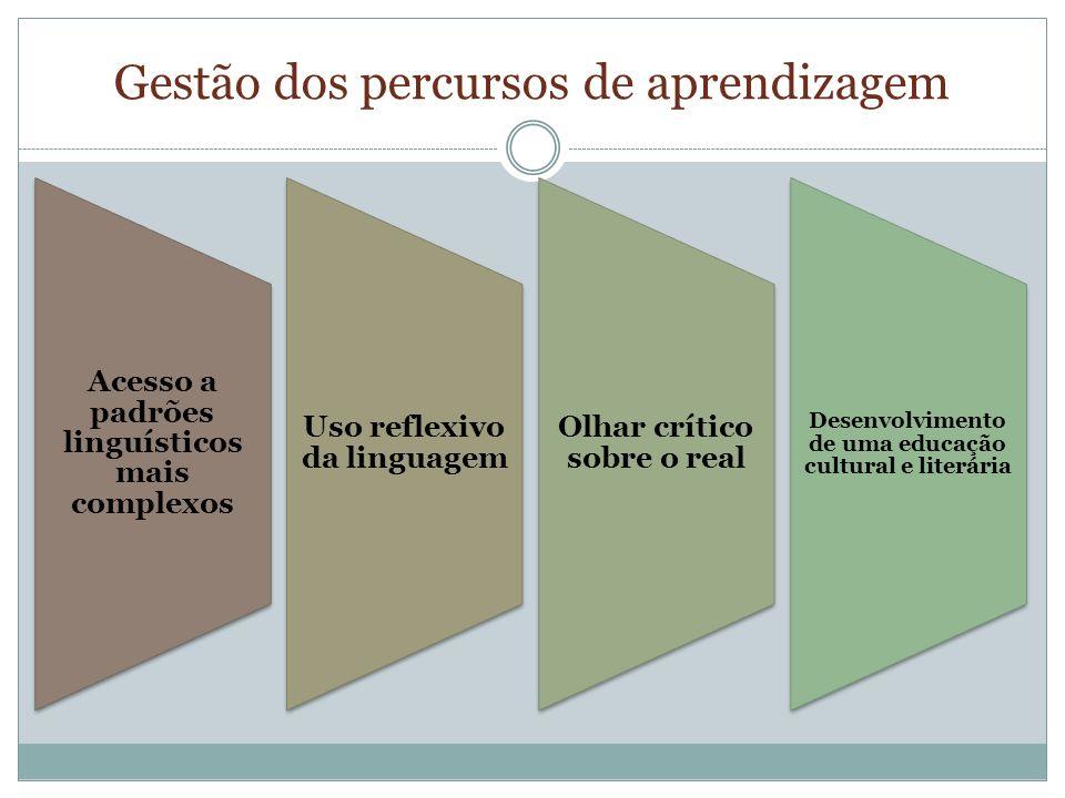 Gestão dos percursos de aprendizagem Acesso a padrões linguísticos mais complexos Uso reflexivo da linguagem Olhar crítico sobre o real Desenvolvimento de uma educação cultural e literária