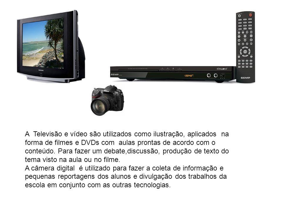 A Televisão e vídeo são utilizados como ilustração, aplicados na forma de filmes e DVDs com aulas prontas de acordo com o conteúdo.