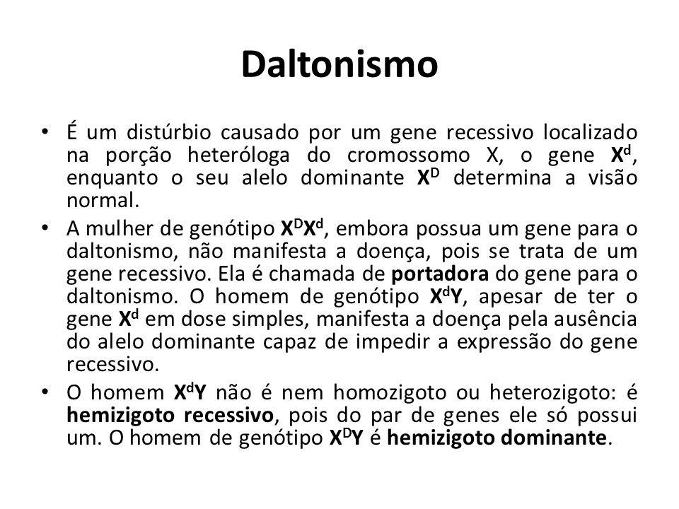 Daltonismo GenótipoFenótipo XDXDXDXD mulher normal XDXdXDXd mulher normal portadora XdXdXdXd mulher daltônica X D Yhomem normal X d Yhomem daltônico