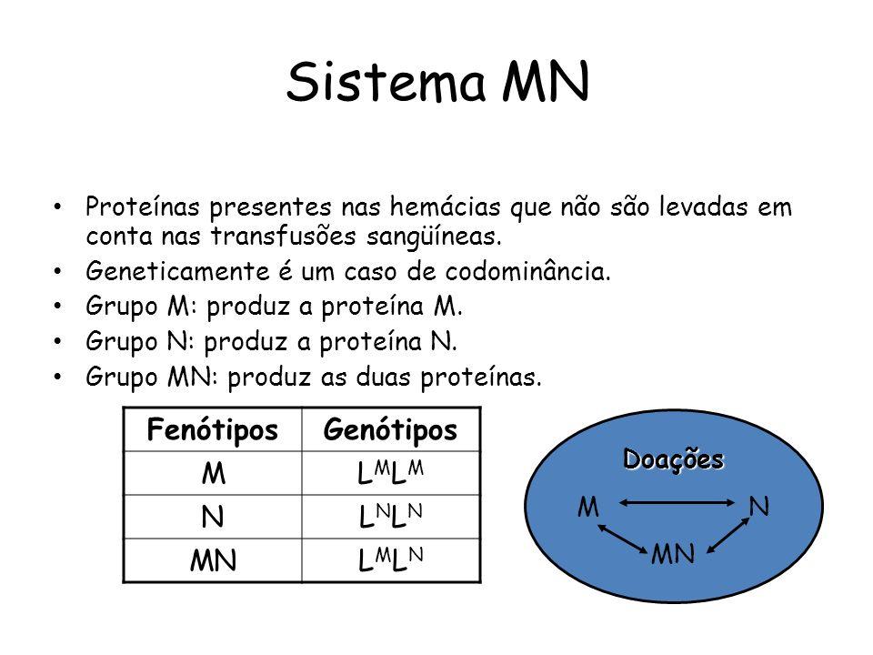 Sistema MN Proteínas presentes nas hemácias que não são levadas em conta nas transfusões sangüíneas.