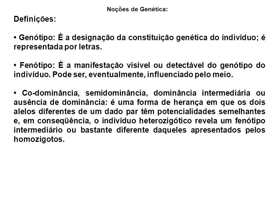 Definições: Genótipo: É a designação da constituição genética do indivíduo; é representada por letras. Fenótipo: É a manifestação visível ou detectáve