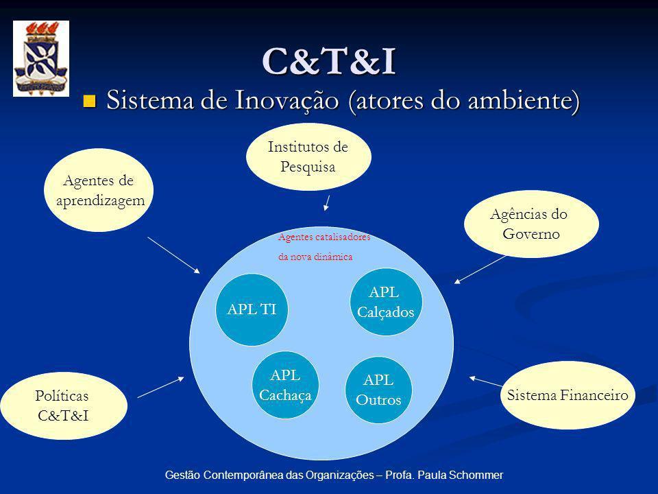 Gestão Contemporânea das Organizações – Profa. Paula Schommer C&T&I Sistema de Inovação (atores do ambiente) Sistema de Inovação (atores do ambiente)