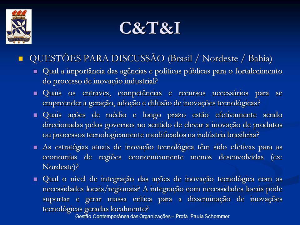 Gestão Contemporânea das Organizações – Profa. Paula Schommer QUESTÕES PARA DISCUSSÃO (Brasil / Nordeste / Bahia) QUESTÕES PARA DISCUSSÃO (Brasil / No