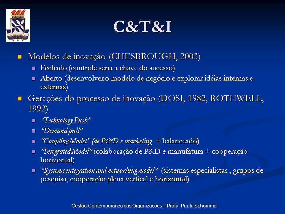 Gestão Contemporânea das Organizações – Profa. Paula Schommer Modelos de inovação (CHESBROUGH, 2003) Modelos de inovação (CHESBROUGH, 2003) Fechado (c