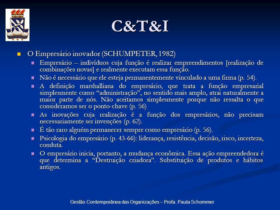 Gestão Contemporânea das Organizações – Profa. Paula Schommer C&T&I O Empresário inovador (SCHUMPETER, 1982) O Empresário inovador (SCHUMPETER, 1982)