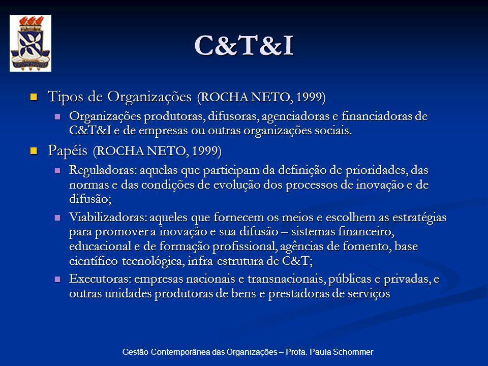 Gestão Contemporânea das Organizações – Profa. Paula Schommer Tipos de Organizações (ROCHA NETO, 1999) Tipos de Organizações (ROCHA NETO, 1999) Organi