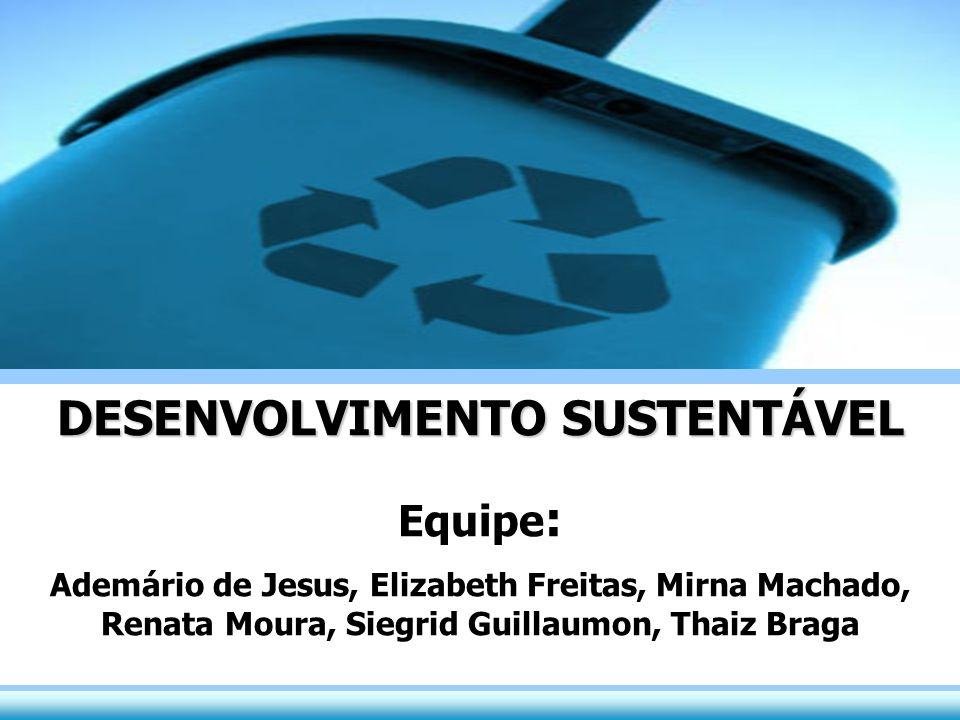 DESENVOLVIMENTO SUSTENTÁVEL Equipe : Ademário de Jesus, Elizabeth Freitas, Mirna Machado, Renata Moura, Siegrid Guillaumon, Thaiz Braga DESENVOLVIMENT